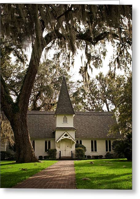 Old Christ Church Greeting Cards - Christ Church on St. Simons Island Georgia Greeting Card by Greg and Chrystal Mimbs