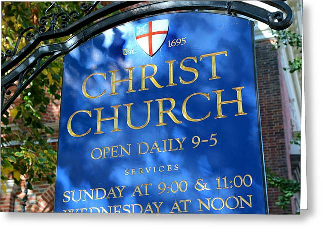 Hopkinson Greeting Cards - Christ Church Sign Greeting Card by Stephen Stookey