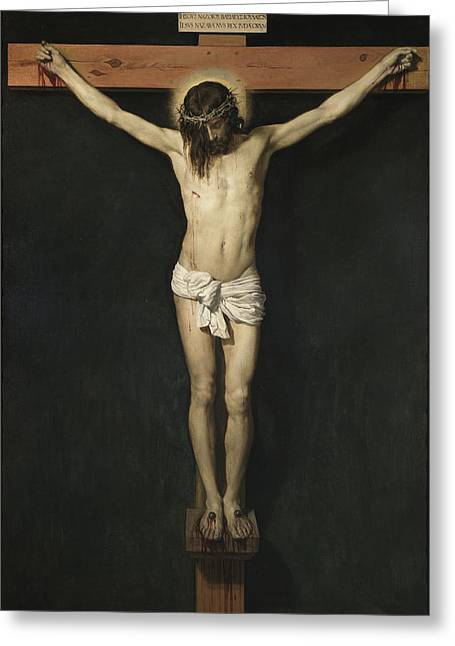 Christ Crucified Greeting Card by Diego Rodriguez de Silva Velazquez