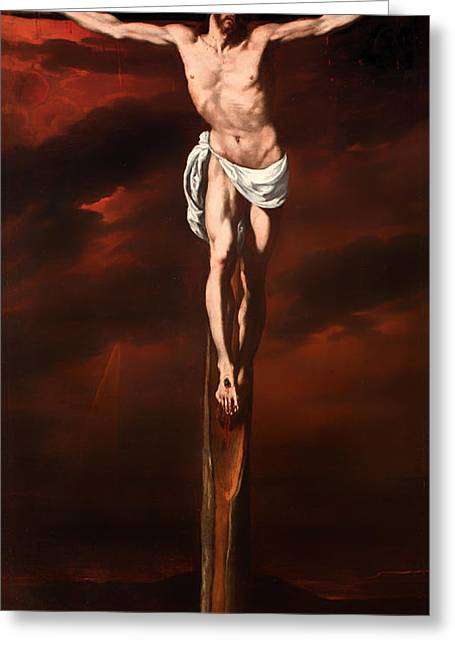 Calvary Greeting Cards - Christ Crucified  Greeting Card by Luis Tristan