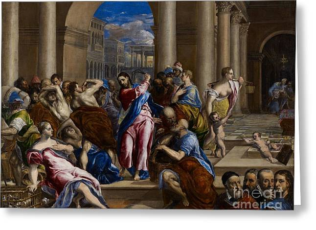 God Money Greeting Cards - Christ Driving the Money Changers from the Temple Greeting Card by El Greco