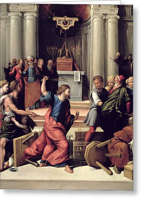 Menorah Greeting Cards - Christ Driving The Money-changers From The Temple Panel Greeting Card by Benvenuto Tisi da Garofalo