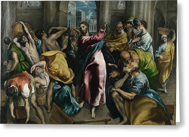 Popular Beliefs Greeting Cards - Christ driving the Traders from the Temple Greeting Card by El Greco