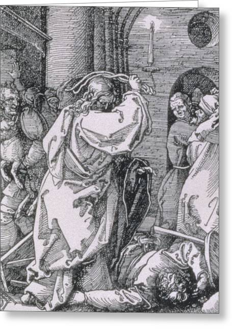 Christian Verses Greeting Cards - Christ expelling the moneychangers from the temple Greeting Card by Albrecht Durer or Duerer
