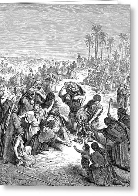 Dore Greeting Cards - Christ Feeding the Multitude Greeting Card by Gustave Dore