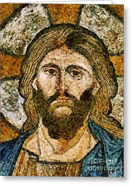 Mosaic Portraits Mixed Media Greeting Cards - Christ from Capella Palatina Greeting Card by Dragica  Micki Fortuna
