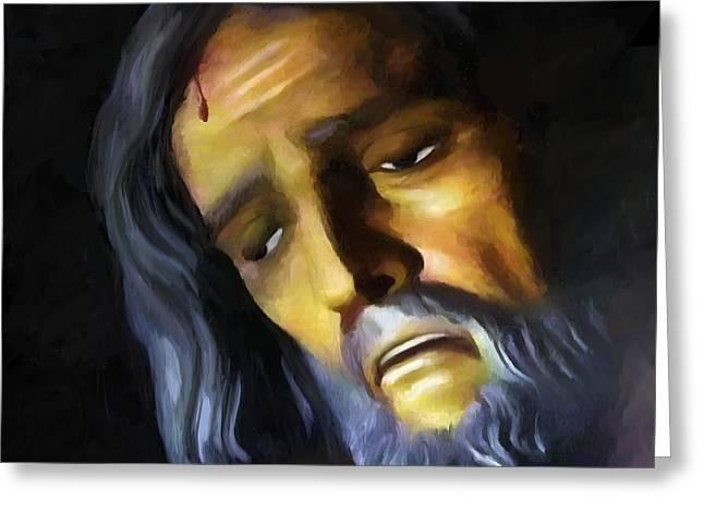 Crucify Digital Art Greeting Cards - Jesus Christ Crucified Greeting Card by Gabriel T Toro