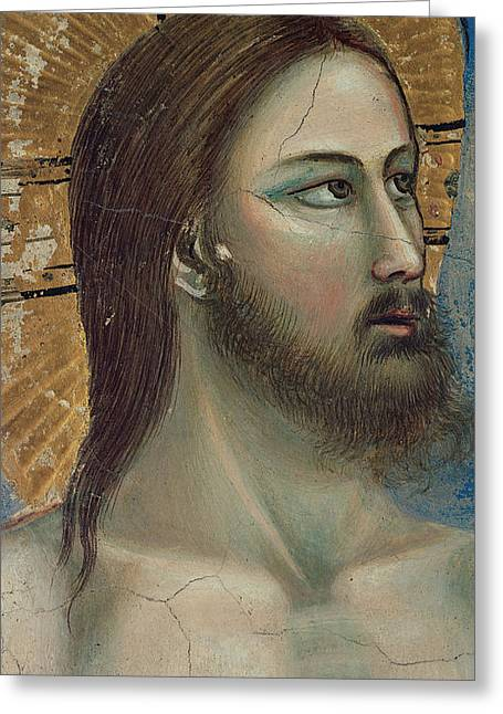 Close Up Paintings Greeting Cards - Christ Greeting Card by Giotto di Bondone