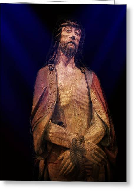 Jesus Crucifixion Framed Prints Greeting Cards - Christ in Bonds Greeting Card by Carlos Diaz