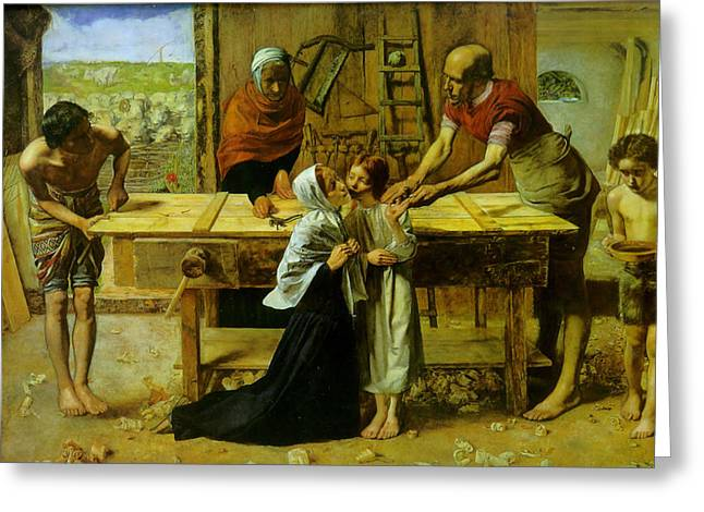 Jesus Christ Images Digital Art Greeting Cards - Christ In The House Of His Parents Greeting Card by John Everett Millais