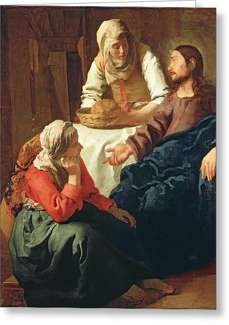 Bread Loaf Greeting Cards - Christ In The House Of Martha And Mary, C.1654-56 Oil On Canvas Greeting Card by Jan Vermeer