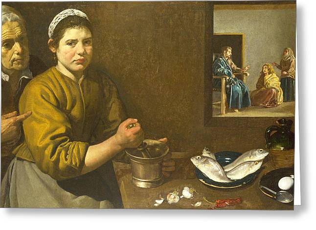 The Houses Greeting Cards - Christ in the House of Martha and Mary Greeting Card by Diego Velazquez