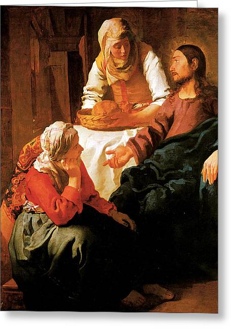 The Houses Greeting Cards - Christ in the House of Martha and Mary Greeting Card by Jan vermeer