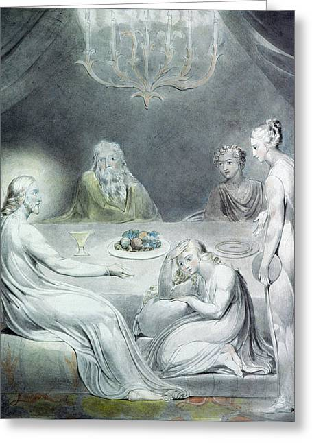 William Blake Greeting Cards - Christ in the House of Martha and Mary or The Penitent Magdalene Greeting Card by William Blake