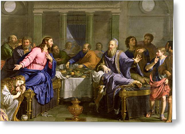 Simon Greeting Cards - Christ in the House of Simon the Pharisee Greeting Card by Philippe de Champaigne