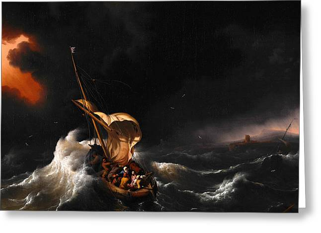 Christ In The Storm Greeting Cards - Christ in the Storm on the Sea of Galilee Greeting Card by Ludolf Bakhuizen