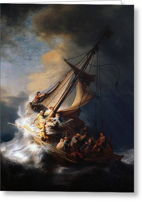 Christ In The Storm Greeting Cards - Christ in the storm on the Sea of Galilee Greeting Card by Rembrandt van Rijn