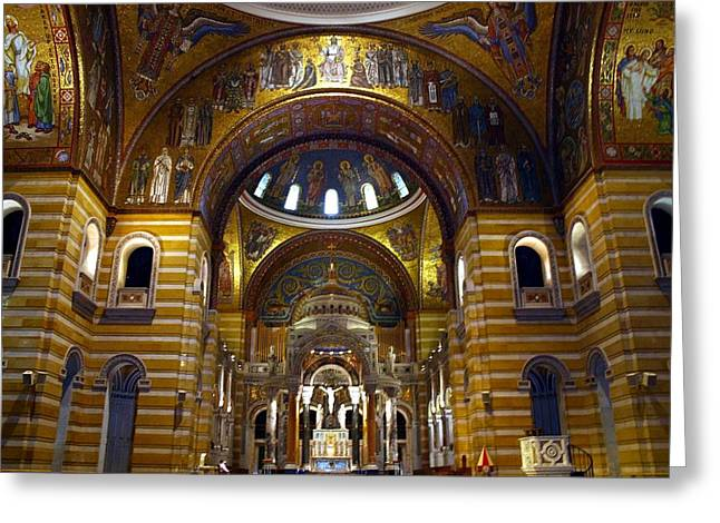 Christ Is Risen - St Louis Basilica Greeting Card by Thia Stover