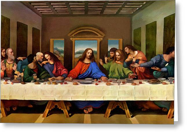 Calvary Greeting Cards - Christ On Lords Supper Greeting Card by Victor Gladkiy