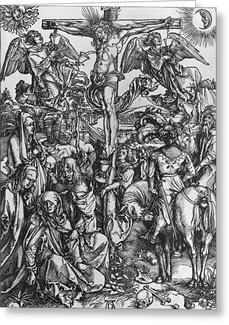 Son Of God Drawings Greeting Cards - Christ on the cross Greeting Card by Albrecht Durer or Duerer