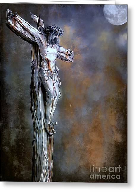 Bible Digital Art Greeting Cards - Christ on the Cross  Greeting Card by Andrzej Szczerski