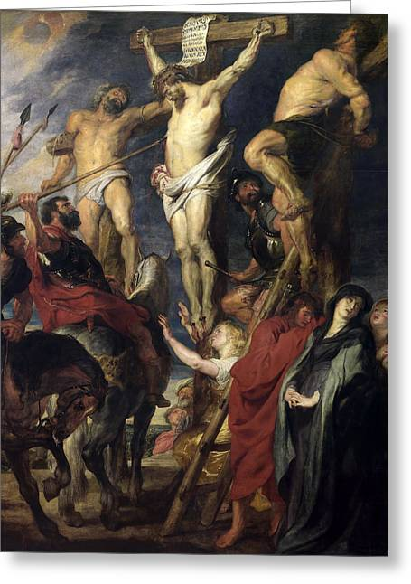 Between The Two Greeting Cards - Christ on the Cross between the Two Thieves Greeting Card by Peter Paul Rubens