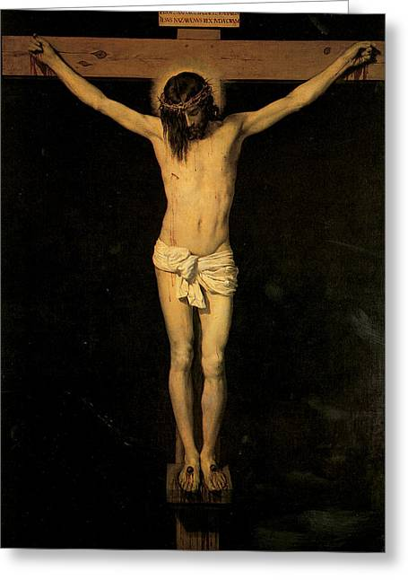 Religious Jesus On Cross Greeting Cards - Christ on the Cross Greeting Card by Diego Velazquez