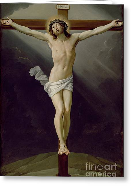 Chiaroscuro Greeting Cards - Christ on the Cross Greeting Card by Guido Reni