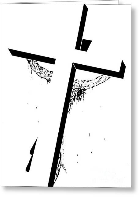 The Christ Ink Drawing Greeting Cards - Christ on the Cross Greeting Card by Justin Moore