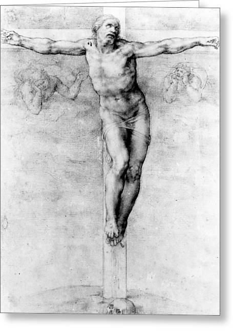 Son Of God Drawings Greeting Cards - Christ on the Cross Greeting Card by Michelangelo Buonarroti
