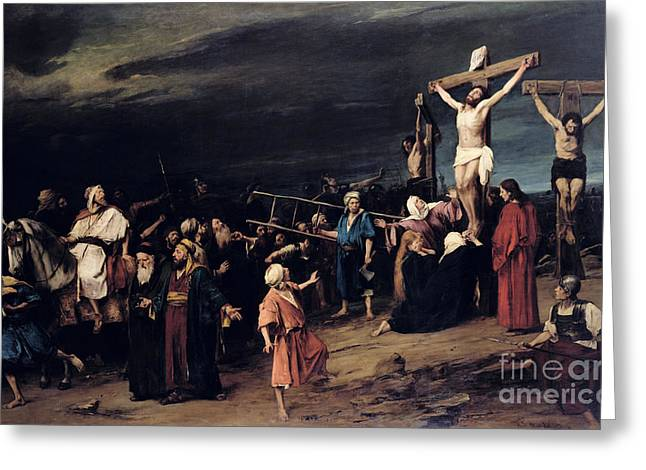 Lord Paintings Greeting Cards - Christ on the Cross Greeting Card by Mihaly Munkacsy