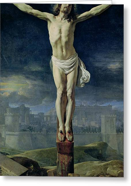 Gospel Greeting Cards - Christ on the Cross Greeting Card by Philippe de Champaigne