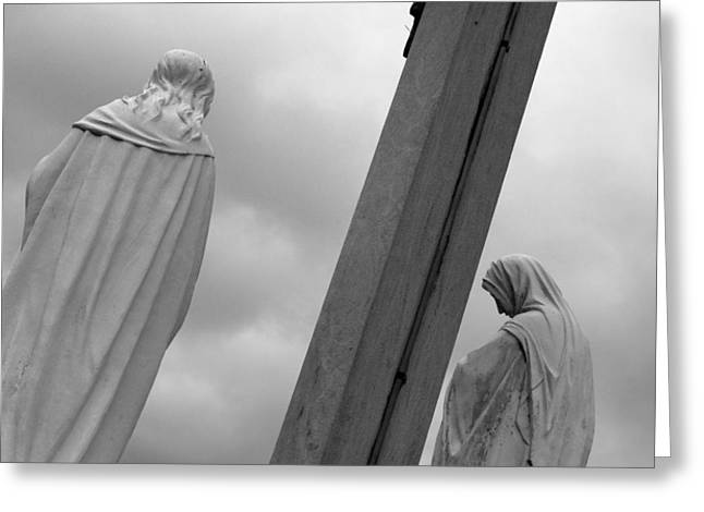 Christ on the Cross with Mourners Evansville Indiana 2008 Greeting Card by John Hanou