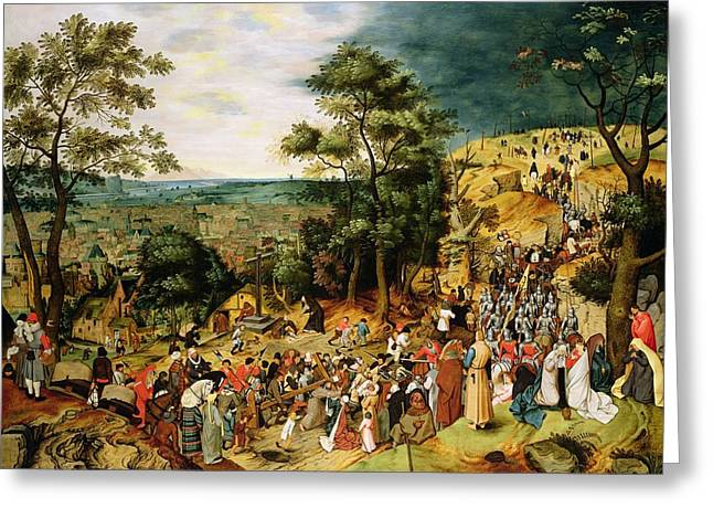 Narrative Greeting Cards - Christ On The Road To Calvary, 1607 Panel Greeting Card by Pieter the Younger Brueghel