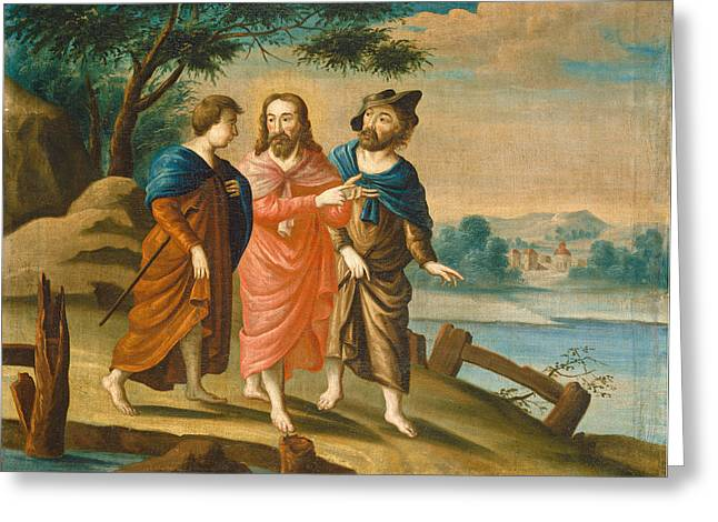 High Society Drawings Greeting Cards - Christ on the Road to Emmaus Greeting Card by Celestial Images