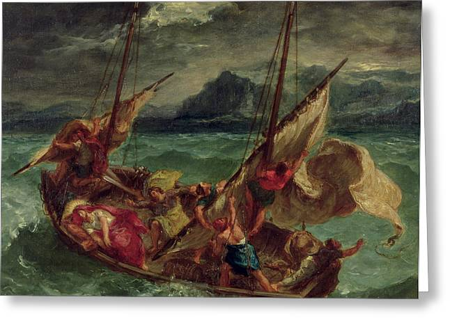 Religious Paintings Greeting Cards - Christ on the Sea of Galilee Greeting Card by Delacroix