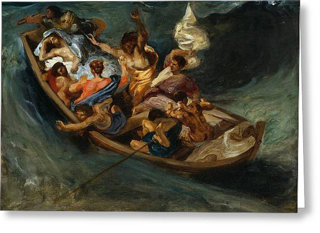 Kansas City Paintings Greeting Cards - Christ on the Sea of Galilee Greeting Card by Eugene Delacroix