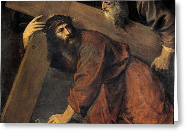 Calvary Greeting Cards - Christ on the Way to Calvary Greeting Card by Titian