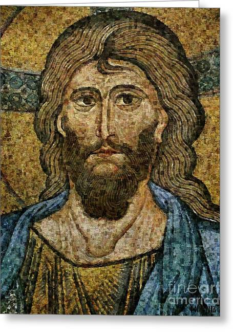 Mosaic Portraits Mixed Media Greeting Cards - Christ Pantocrator from Cefalu Greeting Card by Dragica  Micki Fortuna