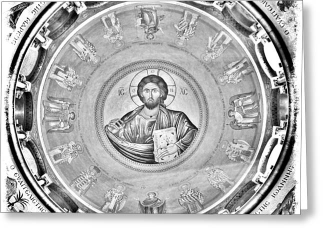 Jesus Christ Icon Greeting Cards - Christ Pantocrator in Black and White -- Church of the Holy Sepulchre Greeting Card by Stephen Stookey