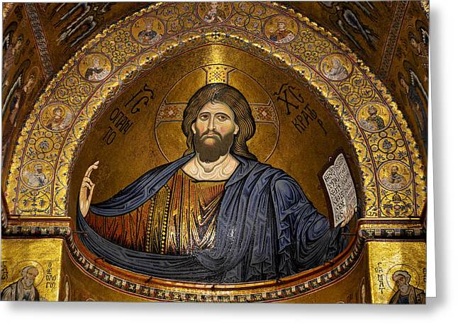 Lucius Iii Greeting Cards - Christ Pantocrator mosaic Greeting Card by RicardMN Photography
