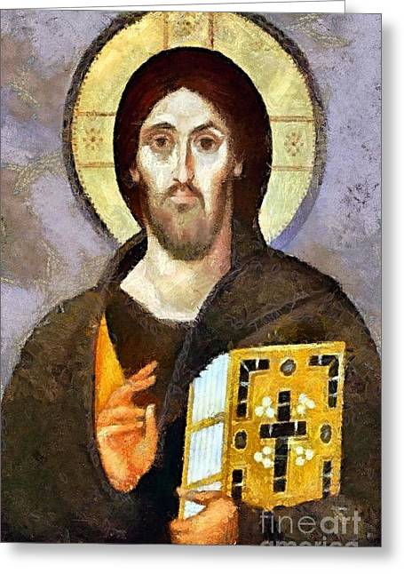 Jesus Christ Icon Greeting Cards - Christ Pantocrator of Sinai Greeting Card by Dragica  Micki Fortuna
