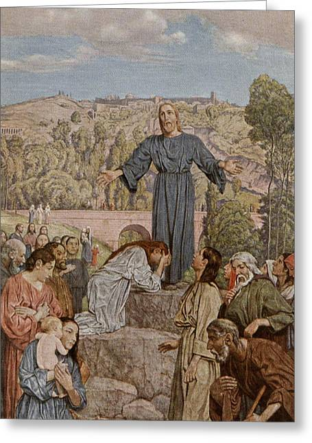 Weeping Greeting Cards - Christ preaching Greeting Card by Hans Thoma