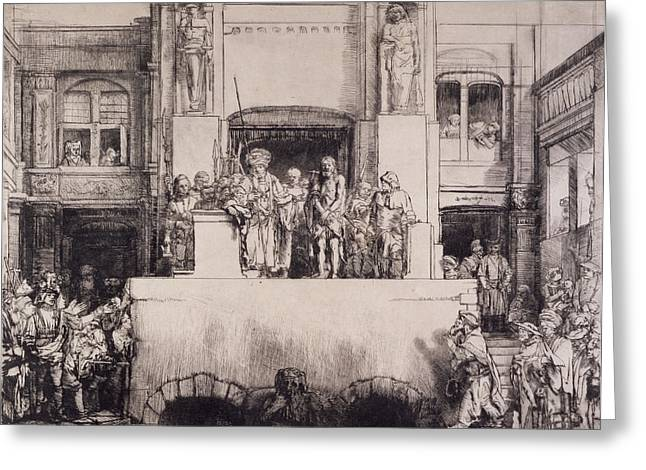 Pontius Greeting Cards - Christ Presented To The People, 1655 Greeting Card by Rembrandt Harmensz. van Rijn
