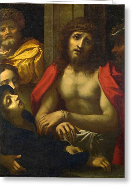 Ecce Paintings Greeting Cards - Christ presented to the People. Ecce Homo Greeting Card by After Correggio