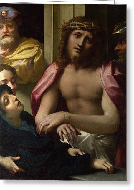 Ecce Paintings Greeting Cards - Christ presented to the People. Ecce Homo Greeting Card by Correggio