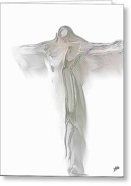 Crucify Digital Art Greeting Cards - Christ quantum relative. Greeting Card by Joaquin Abella
