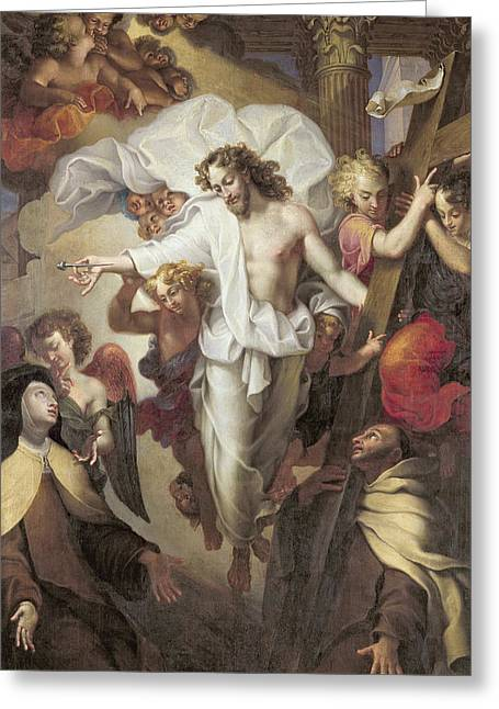 Seraphim Angel Paintings Greeting Cards - Christ Resurrected between St Teresa of Avila Greeting Card by Michel des Gobelins Corneille
