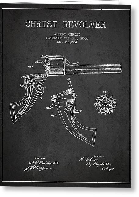 Pistol Greeting Cards - Christ revolver Patent Drawing from 1866 - Dark Greeting Card by Aged Pixel