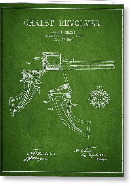 Pistol Greeting Cards - Christ revolver Patent Drawing from 1866 - Green Greeting Card by Aged Pixel